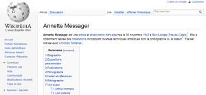 Capture d'écran : la page Wikipédia d'Annette Messager